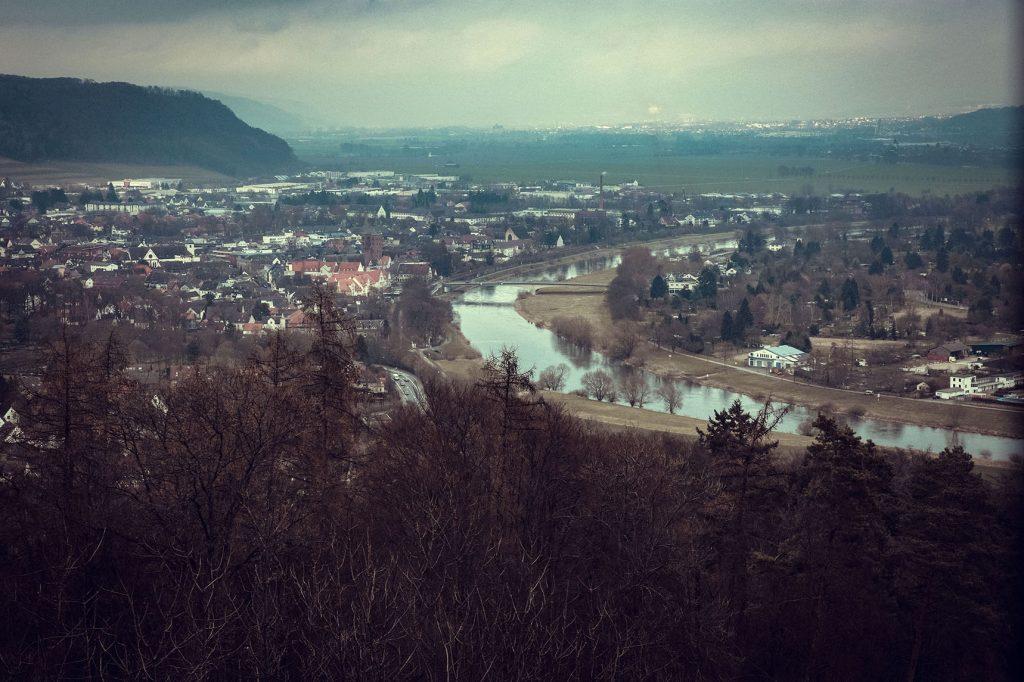 Aussicht vom Rodeneckturm auf Höxter und die Umgebung
