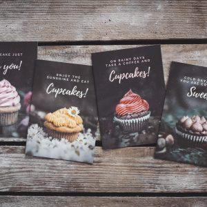 Postkarten-Set Cupcakes Frühling Sommer Herbst Winter
